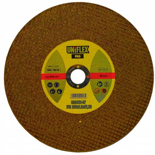 Tarcza 230x2.0x INOX-UNIFLEX wzmocniona żółta
