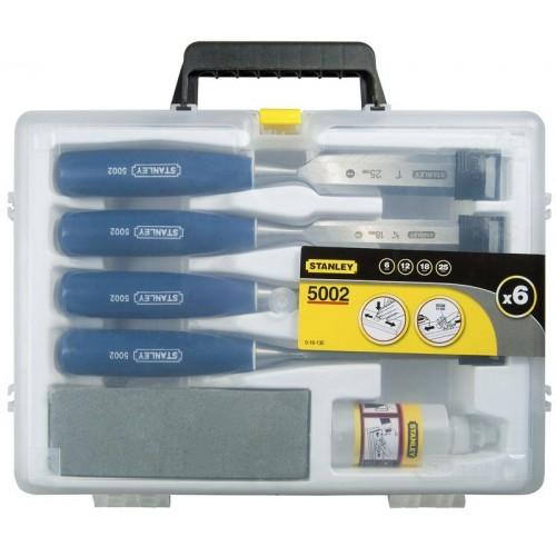 Dłuta 6szt.- : 6 - 12 - 18 - 25 mm , osełka i olej 5002 Stanley 16-130-0