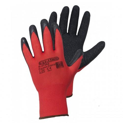 """Rękawice poliestrowe czerwon/czarne - 9"""" Stalco S-47282"""